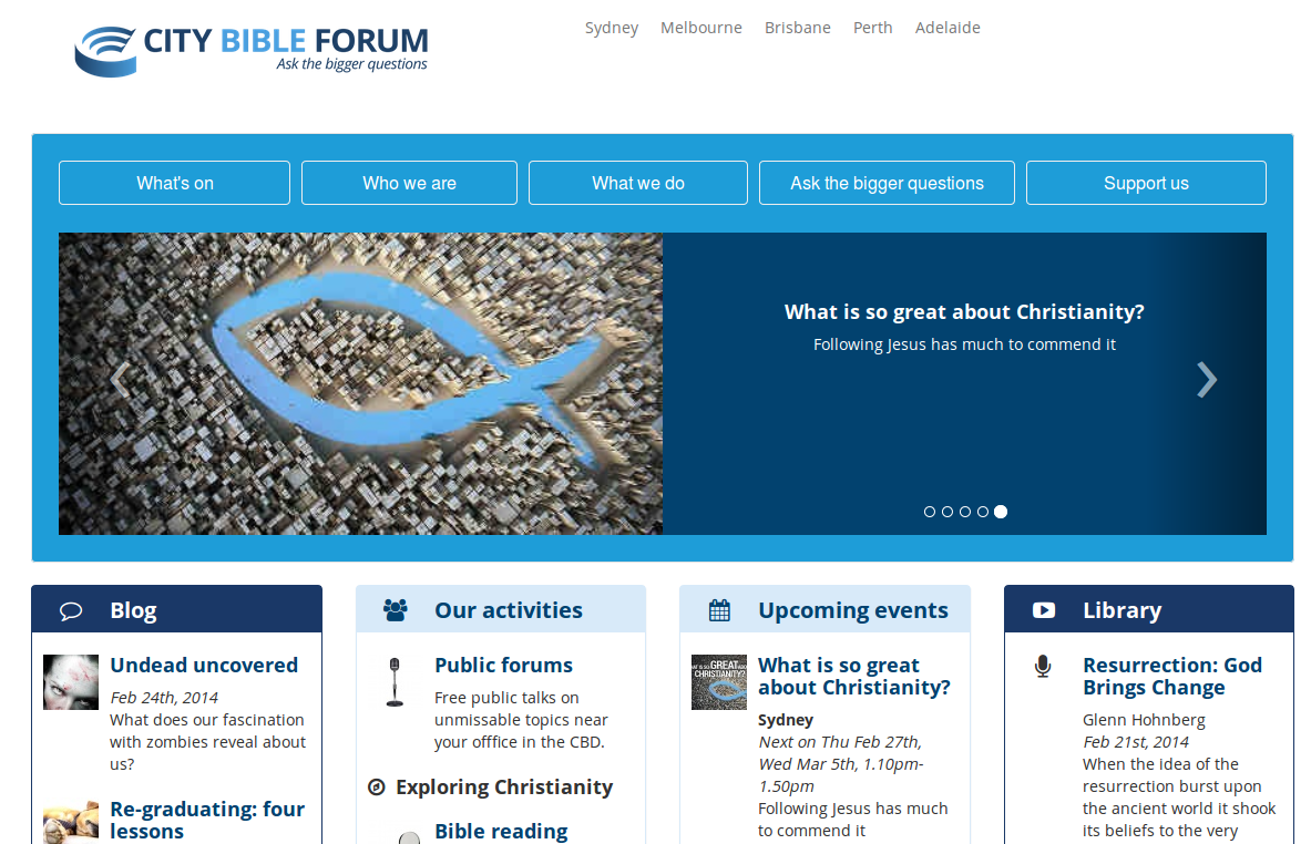 The home page of the City Bible Forum site