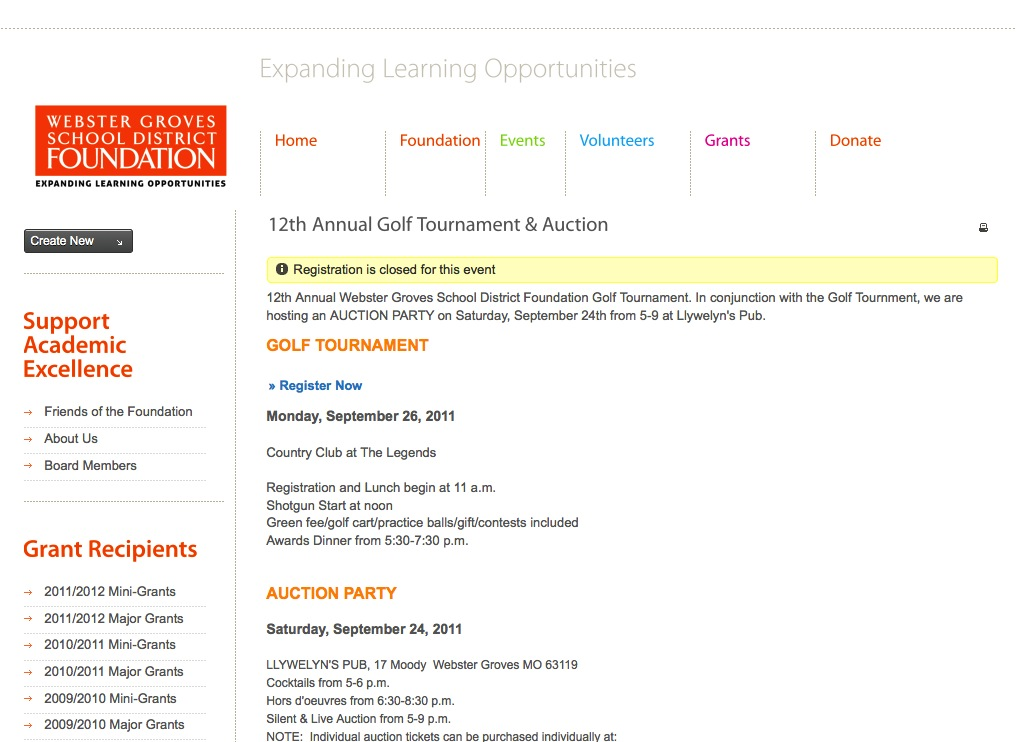 Webster Groves School District Foundation event registration functionality