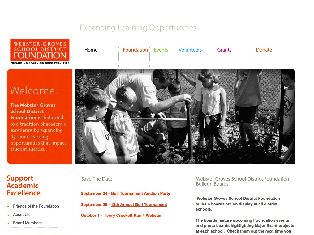 Webster Groves School District Foundation home page