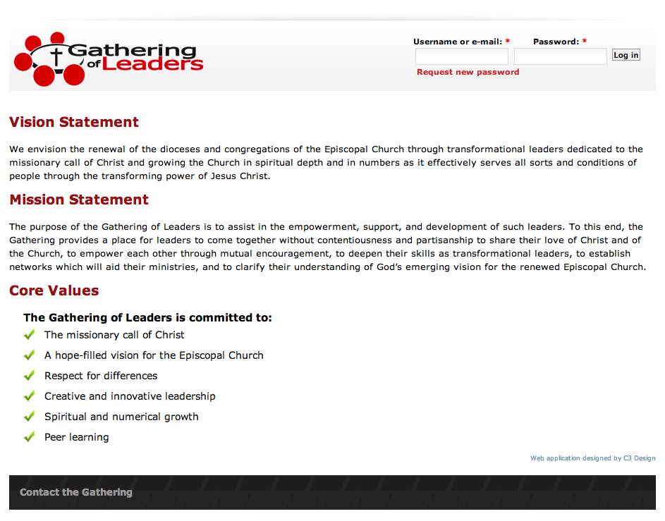 A view of the Gathering of Leaders public home page