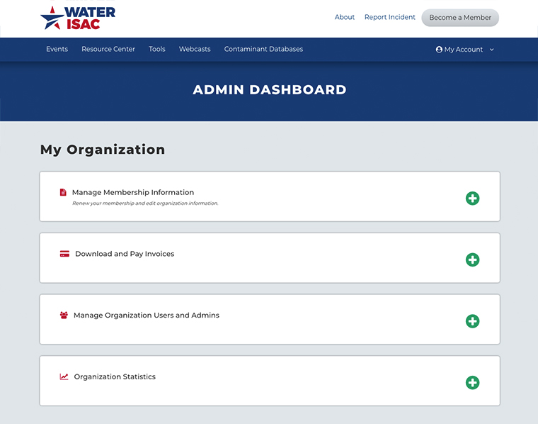 WaterISAC admin dashboard  BackOffice Thinking